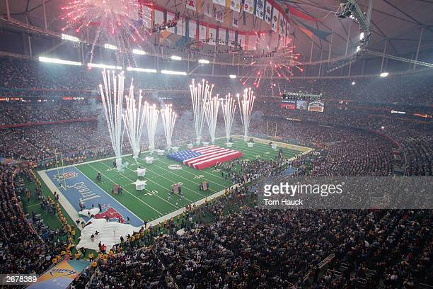 General view of the PreGame Show as fireworks are set off prior to Super Bowl XXXIV between the Tennessee Titans and the St Louis Rams at the Georgia...