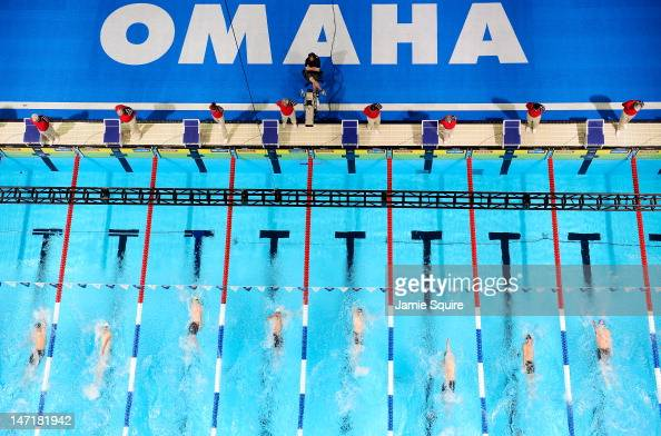 A general view of the preliminary Men's 100 m Backstroke heats during Day Two of the 2012 US Olympic Swimming Team Trials at CenturyLink Center on...