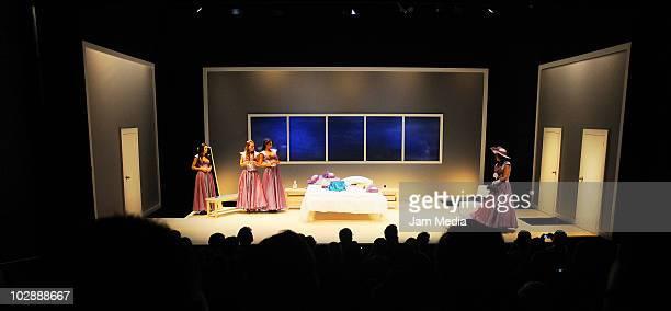 General view of the premiere of the play Cinco mujeres usando el mismo vestido at Telon de Asfalto Theater on July 13 2010 in Mexico City Mexico