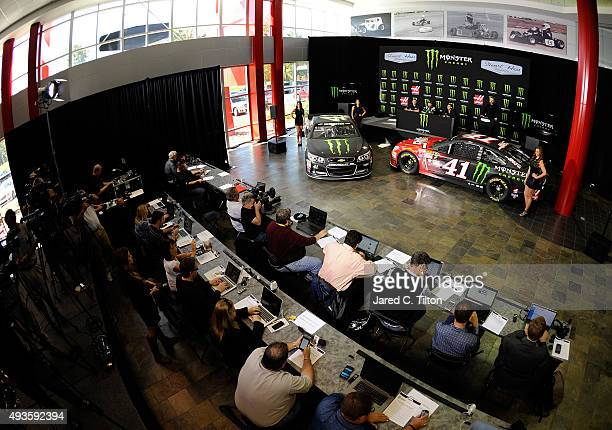 A general view of the press conference announcing Monster Energy as a cosponsor on the StewartHaas Racing Chevrolet at StewartHaas Racing on October...