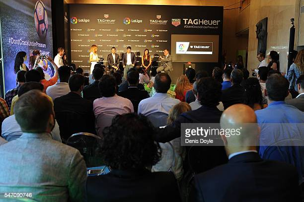 General view of the press conference by Former players Fernando Sanz and Raul Gonzalez Blanca Panzano Managing Director Spain of TAG Heuer and Javier...