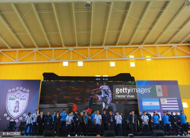 General view of the press conference to unveil Pachuca's new signings at Universidad del Futbol y Ciencias del Deporte on July 18 2017 in Pachuca...