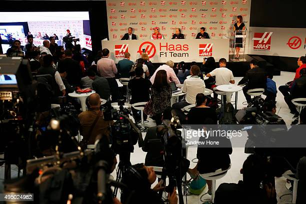 A general view of the press conference with Carlos Slim Jr Team Sponsor Esteban Gutierrez Gene Haas founder and chairman and Guenther Steiner of Haas...