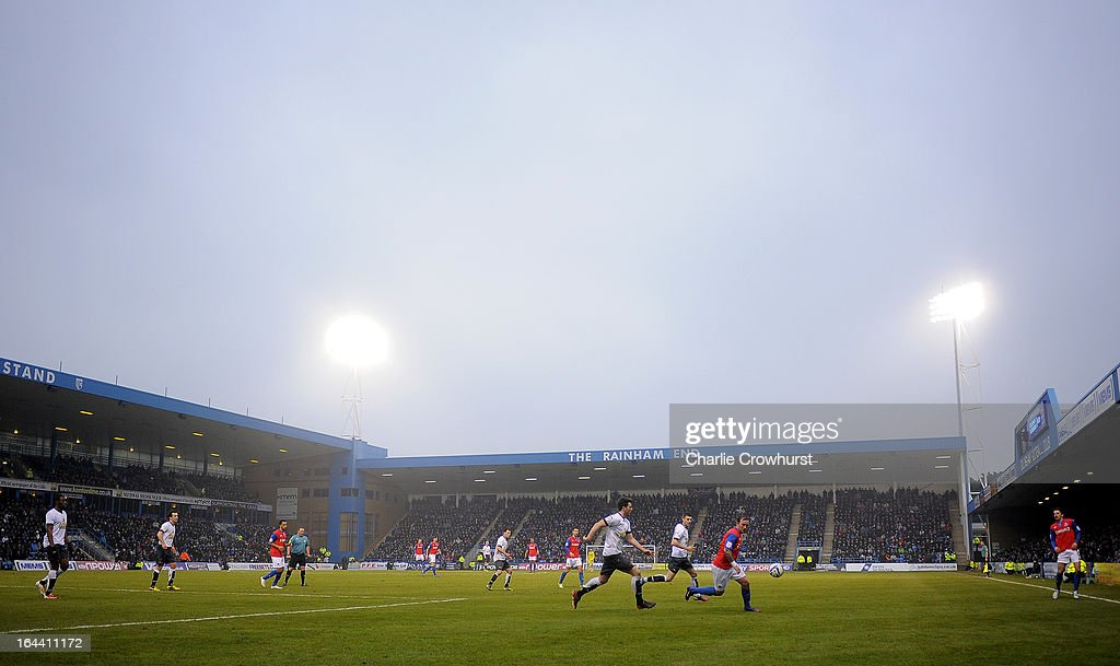 A general view of The Priestfield Stadium during the npower League Two match between Gillingham and Accrington Stanley at The Priestfield Stadium on March 23, 2013 in Gillingham, England.