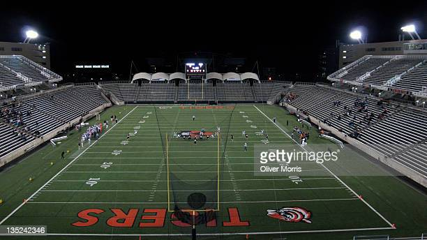 General view of the Princeton University football stadium during a sparsely attended nighttime Sprint football game between the home team and the...