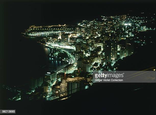 General view of the Principality of Monaco by night