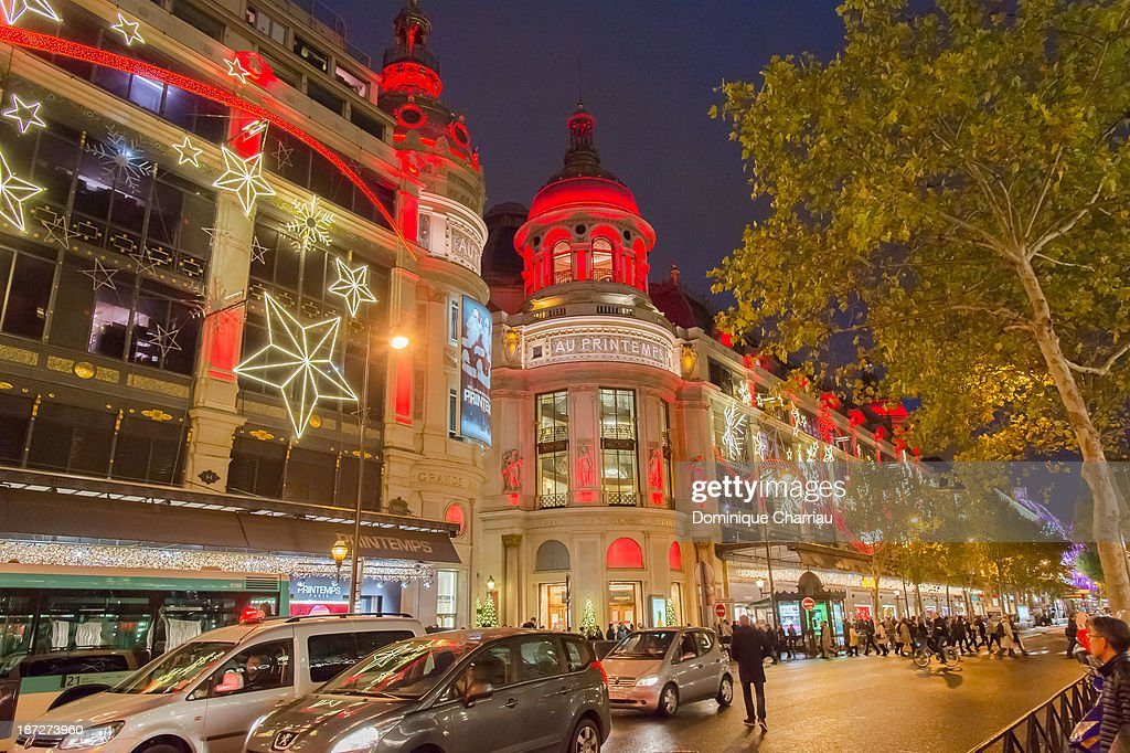 A general view of the Printemps christmas decorations at Printemps Haussmann on November 7, 2013 in Paris, France.
