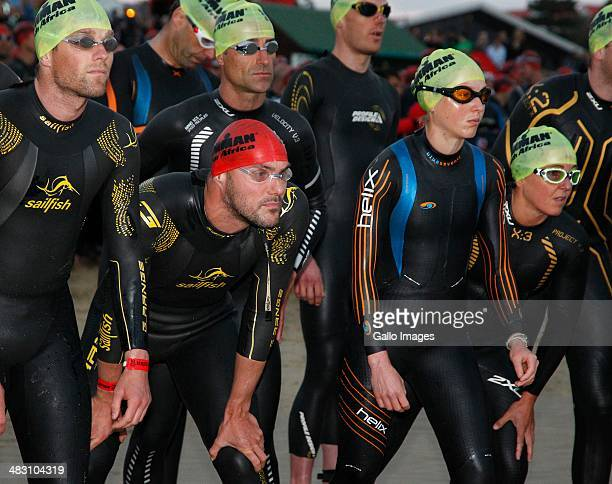 General view of the professionals at the start during the IRONMAN South Africa 2014 on April 04 2014 in Port Elizabeth South Africa