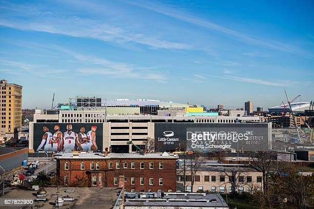 A general view of the progress of Little Caesars Arena during a press conference to announce that the Detroit Pistons will move to downtown Detroit...