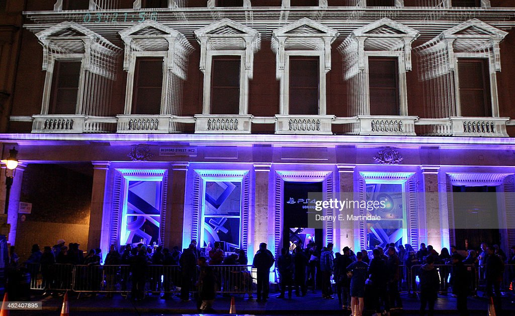 General view of the PS4 lounge in Covent Garden at night, lit up with projections, ahead of the launch of the Playstation 4, on November 28, 2013 in London, England. PS4 consoles go on sale at midnight.