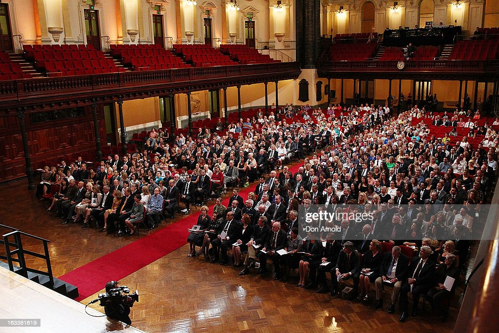 A general view of the public memorial for Peter Harvey at Sydney Town Hall on March 9, 2013 in Sydney, Australia. Television journalist Peter Harvey, died in Sydney on March 2 aged 68 after a battle with pancreatic cancer.