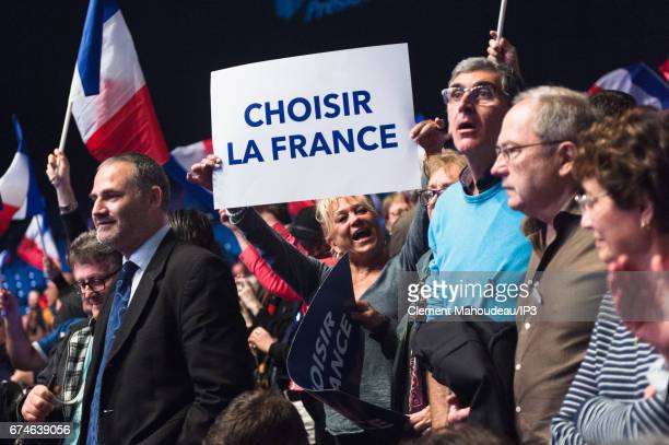 A general view of the public of Marine Le Pen National Front Party Leader and presidential candidate who holds a meeting ahead of the second round of...