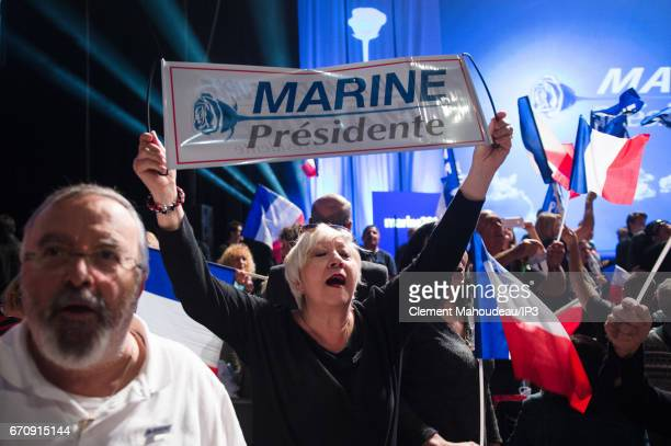 A general view of the public who came to listen Marine Le Pen National Front Party Leader and candidate for the 2017 French Presidential Election...
