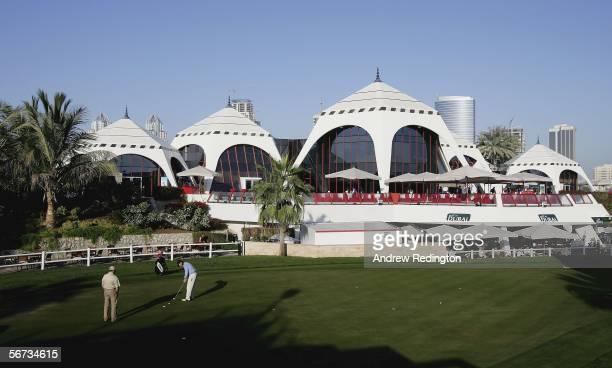 A general view of the putting green and clubhouse during the second round of the Dubai Desert Classic on February 3 2006 on the Majilis Course at...