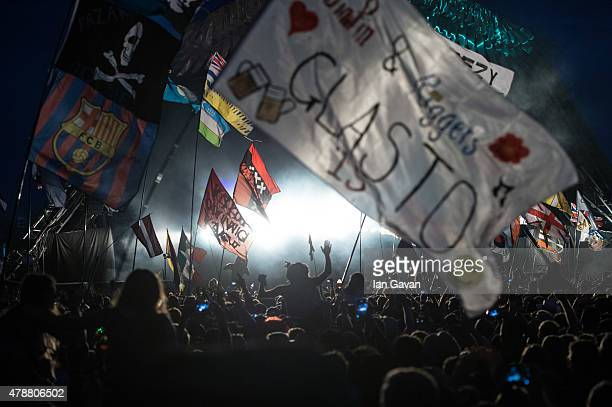 General view of the Pyramid Stage as Kanye West performs on during the Glastonbury Festival at Worthy Farm Pilton on June 27 2015 in Glastonbury...