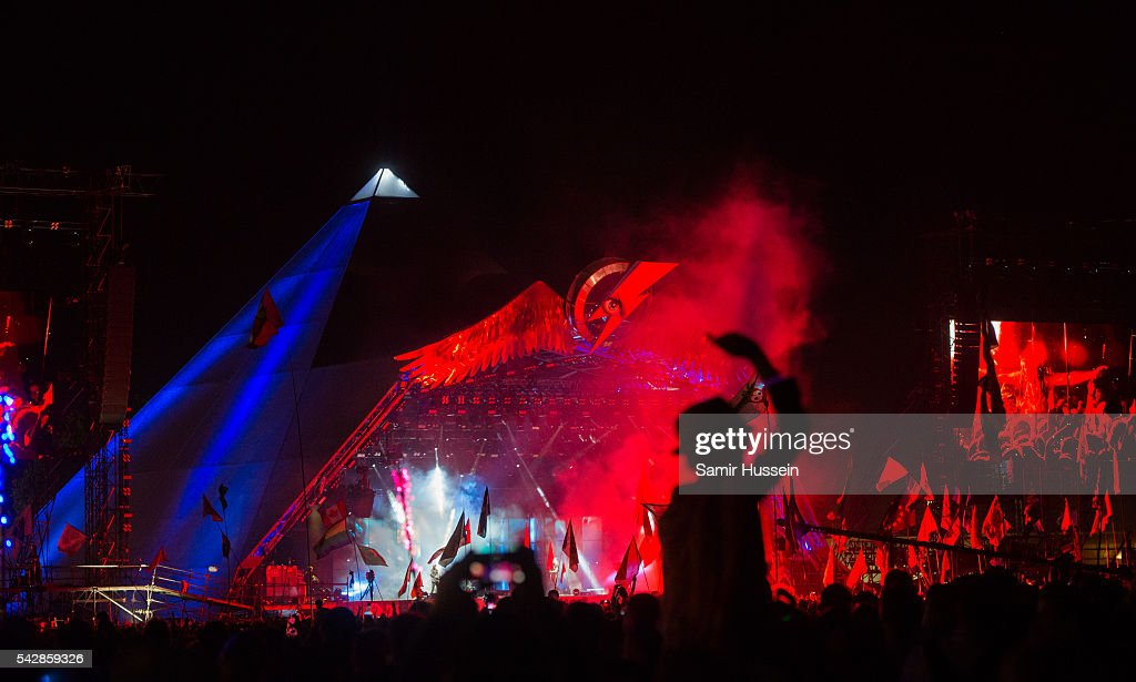 A general view of the Pyramid Stage as Muse perform at Glastonbury Festival 2016 at Worthy Farm, Pilton on June 24, 2016 in Glastonbury, England.