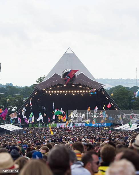 A general view of the Pyramid Stage at Glastonbury Festival 2016 at Worthy Farm Pilton on June 25 2016 in Glastonbury England