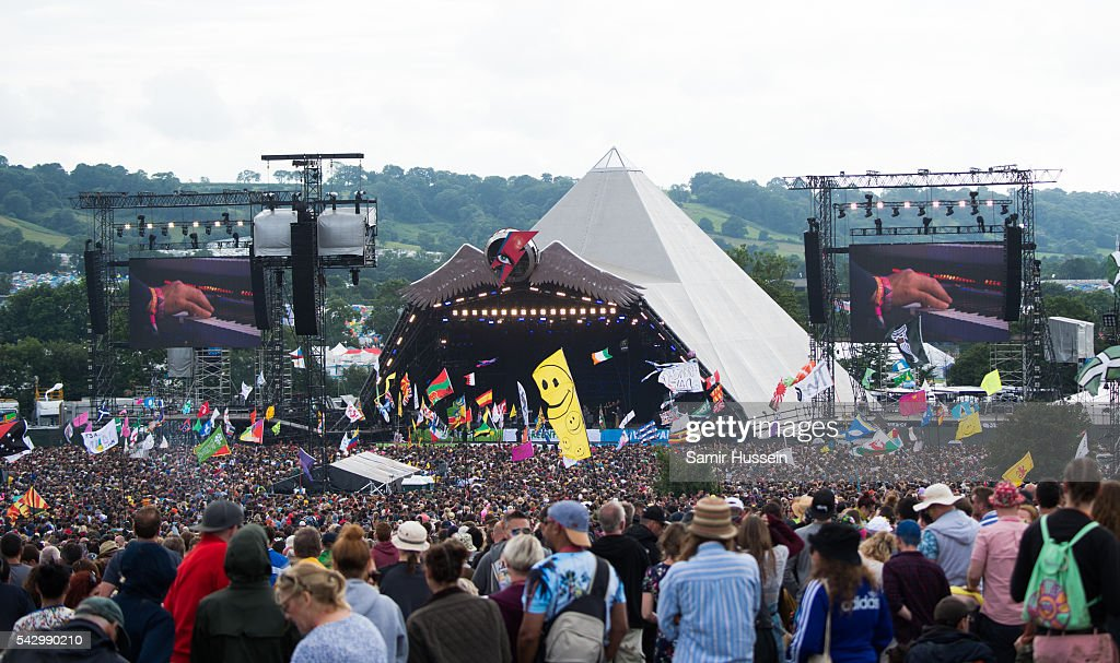 A general view of the Pyramid Stage at Glastonbury Festival 2016 at Worthy Farm, Pilton on June 25, 2016 in Glastonbury, England.