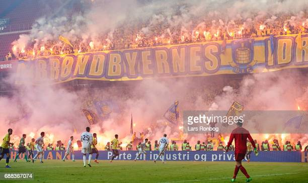 General view of the pyrotechnics from the fans of Brondby IF during the Danish Cup Final DBU Pokalen match between FC Copenhagen and Brondby IF at...