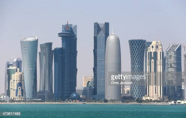 A general view of the Qatar skyline on February 20 2014 in Doha Qatar The Prince is on a three day solo visit to Qatar following a short visit to...