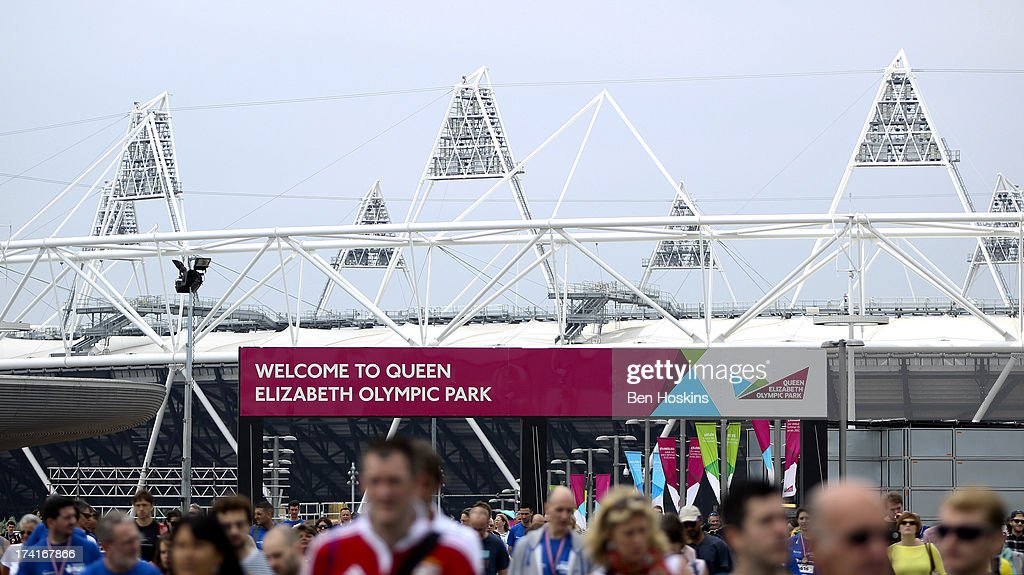 A general view of the Queen Elizabeth Olympic Park during The National Lottery Anniversary Run at The Queen Elizabeth Olympic Park on July 21, 2013 in Stratford, England.