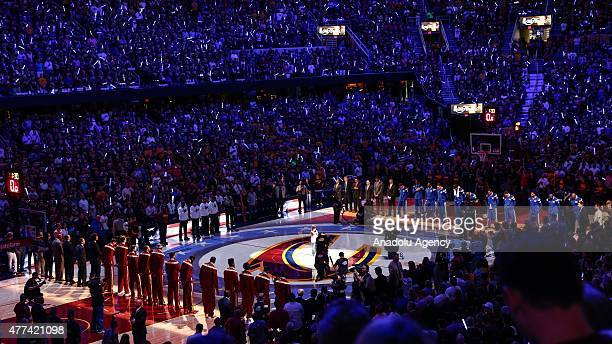 A general view of the Quicken Loans Arena during the Game 6 of the 2015 NBA Finals between Golden State Warriors vs Cleveland Cavaliers on June 16...