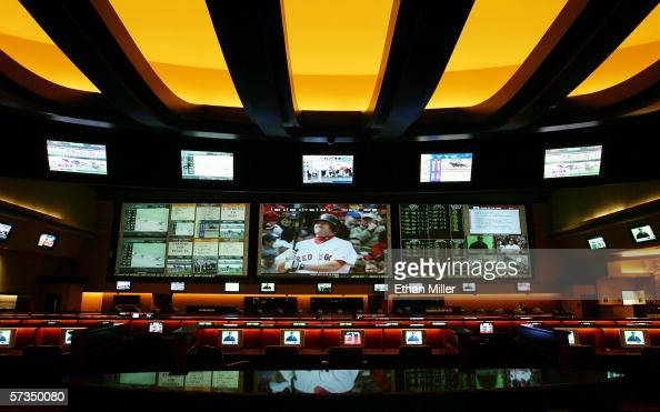 A general view of the race and sports book at the Red Rock Casino is seen April 17 2006 in Las Vegas Nevada The 96foot long threescreen display is...