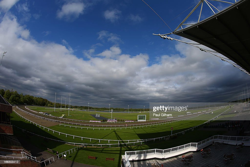 A general view of the race course during evening flat races at Kempton Park on May 8, 2013 in Sunbury, England.