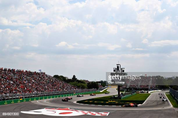 A general view of the race showing Daniel Ricciardo of Australia driving the Red Bull Racing Red BullTAG Heuer RB13 TAG Heuer on track during the...