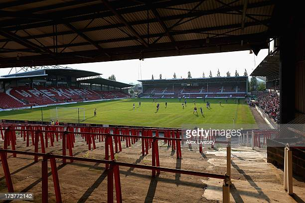 A general view of the Racecourse Ground is seen during the Pre Season Friendly match between Wrexham AFC and Wolverhampton Wanderers at Racecourse...