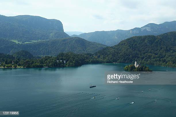 A general view of the racing as it goes down the lake towards the finish during day four of the FISA Rowing World Championships at Lake Bled on...