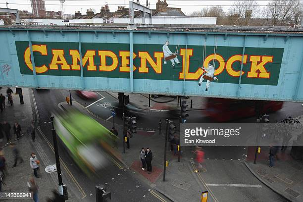 A general view of the railway bridge over Camden Lock on March 31 2012 in London England Camden in North London has been one of the city's cultural...