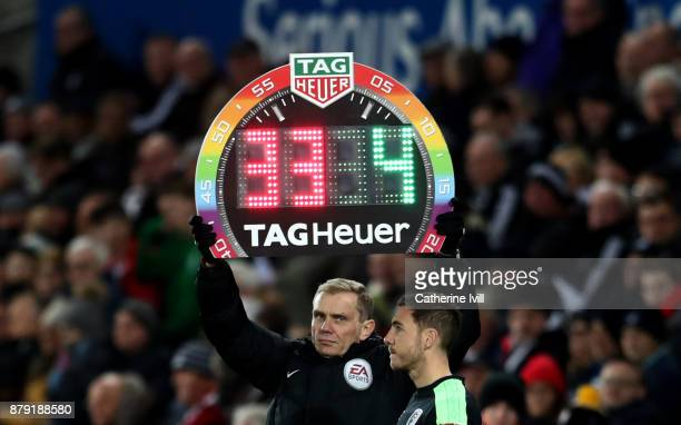 General view of the rainbow laces substitutes board during the Premier League match between Swansea City and AFC Bournemouth at Liberty Stadium on...