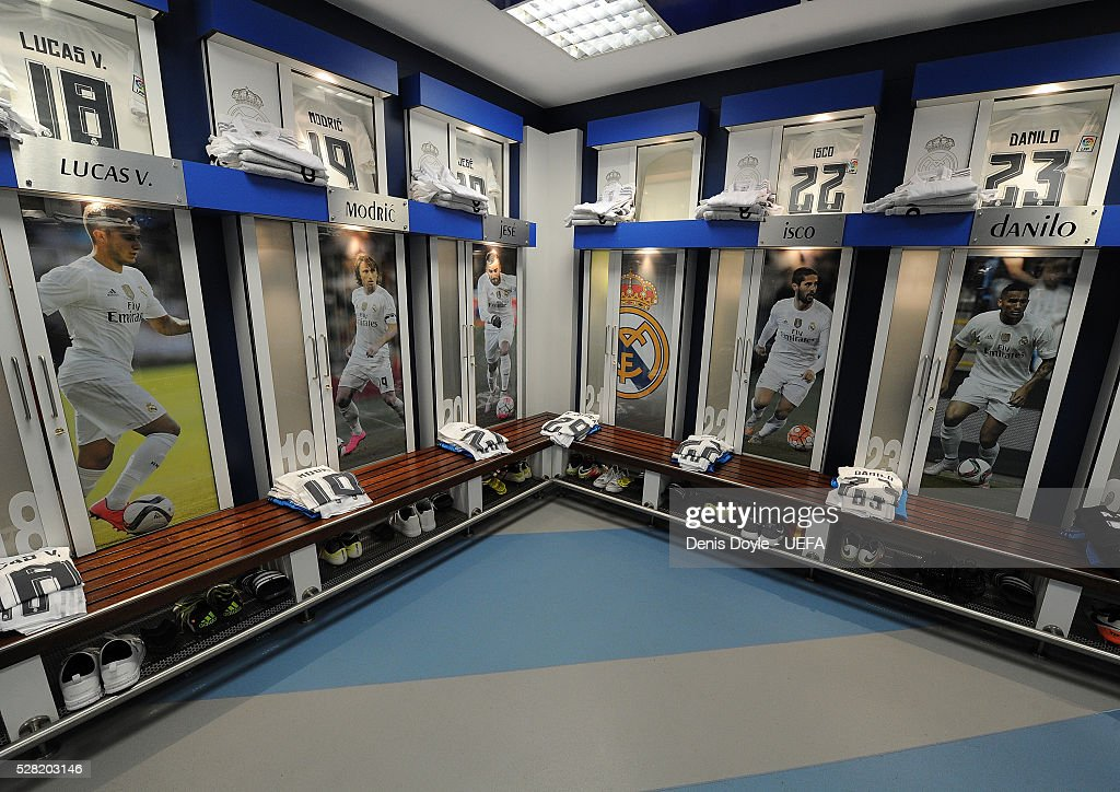 General view of the Real Madrid dressing room ahead of the UEFA Champions League Semi Final second leg match between Real Madrid and Manchester City FC at Estadio Santiago Bernabeu on May 4, 2016 in Madrid, Spain.