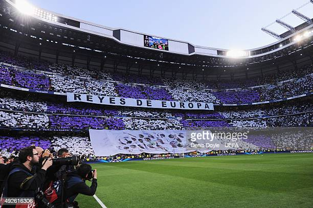 A general view of the Real Madrid fans during the UEFA Champions League Semi Final first leg match between Real Madrid and FC Bayern Muenchen at...