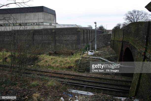 General view of the rear of HM Prison Kingston in Portsmouth which borders a railway line The Victorian institution was built in 1877 and now...