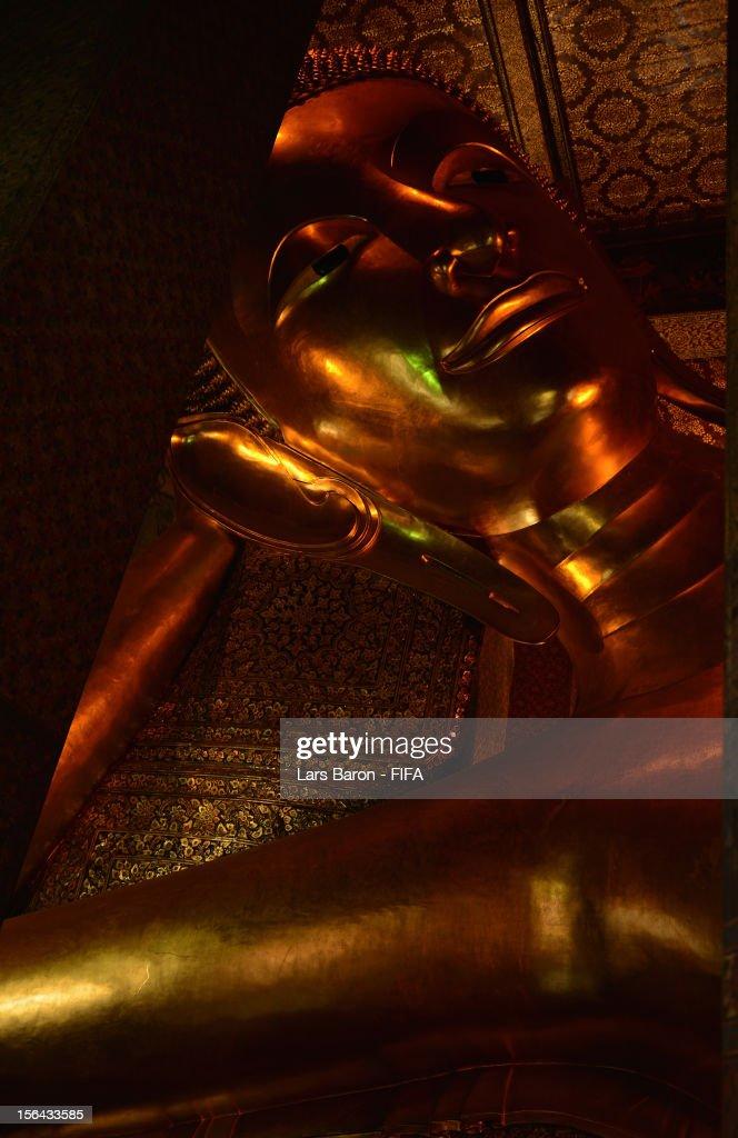 A general view of the Reclining Buddha at Wat Pho temple of the Reclining Buddha on November 15 2012 in Bangkok Thailand