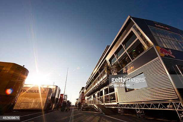 A general view of the Red Bull Energy Station in the paddock during previews ahead of the Hungarian Formula One Grand Prix at Hungaroring on July 24...