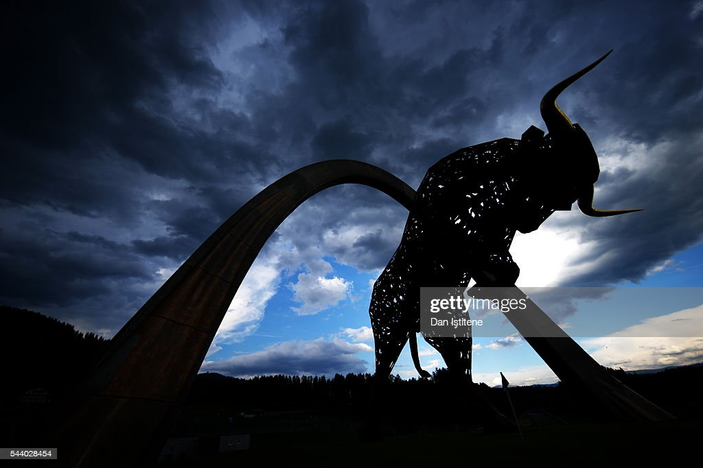 A general view of the Red Bull statue during previews ahead of the home race of Red Bull Racing and Formula One Grand Prix of Austria at Red Bull...