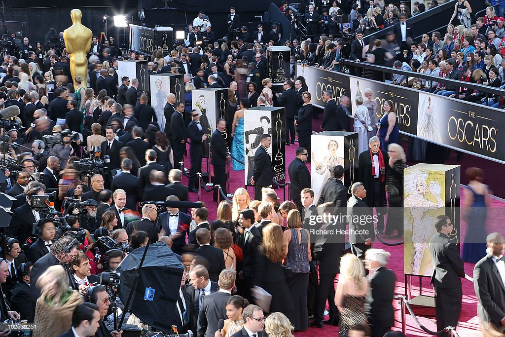 A general view of the red carpet arrivals before the Oscars held at Hollywood & Highland Center on February 24, 2013 in Hollywood, California.