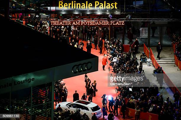 A general view of the red carpet at the Berlinale Palace during the 'Countdown 66 Minuten zur 66 Berlinale' At Glashuette Original Lounge on February...