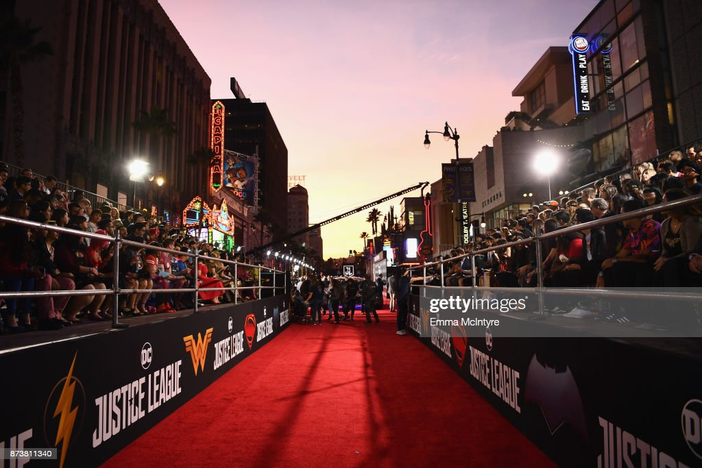 A general view of the red carpet at the premiere of Warner Bros. Pictures' 'Justice League' at Dolby Theatre on November 13, 2017 in Hollywood, California.