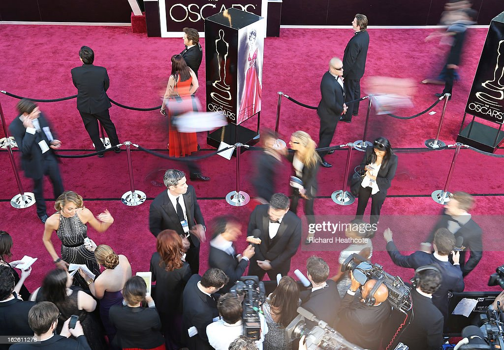 A general view of the red carpet during arrivals at the Oscars held at Hollywood & Highland Center on February 24, 2013 in Hollywood, California.