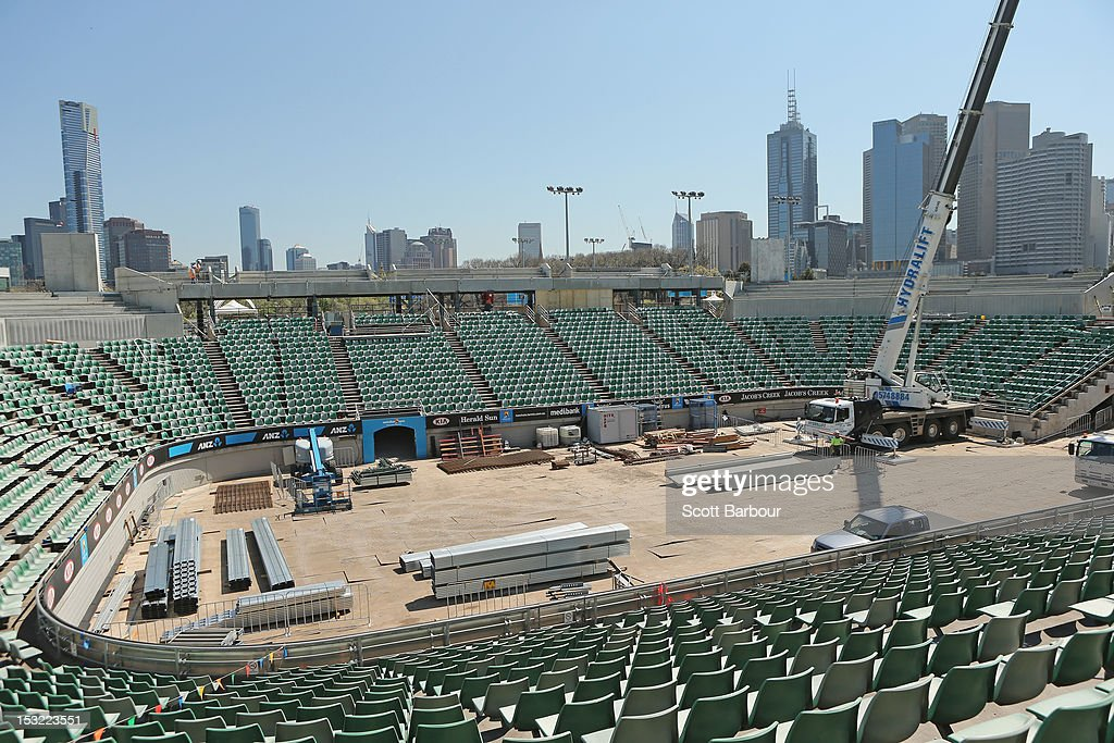 A general view of the redevelopment at Margaret Court Arena during the 2013 Australian Open launch at Melbourne Park on October 2, 2012 in Melbourne, Australia.