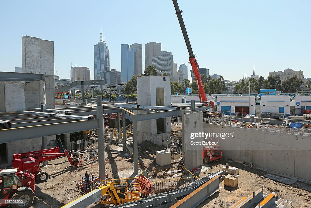 A general view of the redevelopment near Margaret Court Arena during the 2013 Australian Open launch at Melbourne Park on October 2, 2012 in Melbourne, Australia.