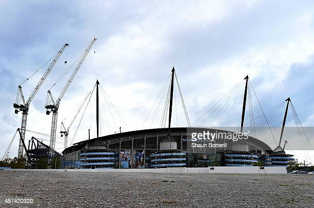A general view of the redevelopment work at the Etihad Stadium prior to kickoff during the Barclays Premier League match between Manchester City and...