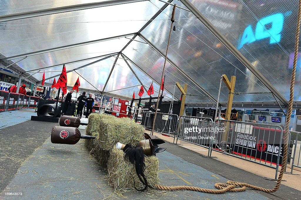 General view of The Reebok Spartan Race Times Square Challenge in Times Square on January 17, 2013 in New York City.