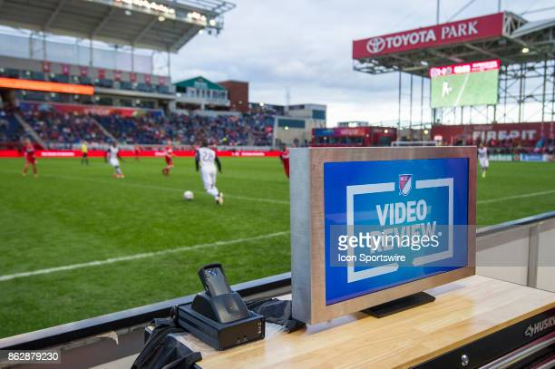 A general view of the referee video review screen during a game between the Philadelphia Union and the Chicago Fire on October 15 at Toyota Park in...