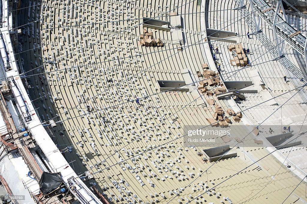 General view of the refurbishment works for the FIFA World Cup Brazil 2014 and the 2016 Olympic Games being undertaken at the Mario Filho 'Maracana' stadium on February 22, 2013 in Rio de Janeiro, Brazil. An aerial view shows the roof installation and the new chairs at the Maracana Stadium.