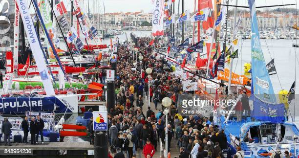 A general view of the regatta village in Les Sables d'Olonne western France ahead of the start of the Vendee Globe yacht race Three British sailors...